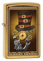 Zippo Brush Brass Industrial Machinery Skull with Top Hat Lighter (Gold, 5 1/2x 3 1/2-Cm)