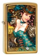 Zippo Brushed Brass Industrial Machinery Lady Lighter